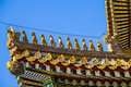 Immortal and beasts on the eaves of the building in forbidden city beijing Stock Photography