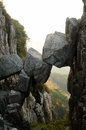 Immortal bridge on tai shan the top of mount in the city of taian in shandong province china Royalty Free Stock Photos