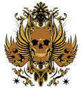 Immortality royal golden skulls and wings Royalty Free Stock Photos