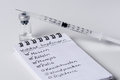 Immunization checklist with syringe and ampoule in background vaccination german version inscription is german language Stock Photos