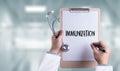 IMMUNIZATION Immune System  as medical concept ,  Syringe. Immun Royalty Free Stock Photo