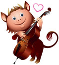 Imp double bass love heart song little devil played music valentine day personage greeting card character Stock Images