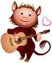 Imp guitar player love heart song little devil played music valentine day personage greeting card character Royalty Free Stock Image