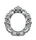 Imperial Baroque Mirror round frame. Vector French Luxury rich intricate ornaments. Victorian Royal Style decor Royalty Free Stock Photo