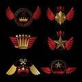 Imperial Crowns and Vintage Stars emblems set. Heraldic Coat of