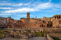 Imperial forums view of at sunset rome italy Stock Photo