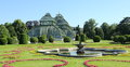 Imperial garden a panoramic view of a part of the in the palace schönbrunn in vienna austria in the foreground a fountain Stock Photos