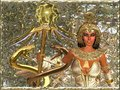 Imperial goddess close up holding a scepter with two gold snakes and a mystical power sphere she is a citadel for the truth and Stock Images