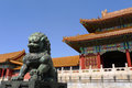 An imperial guardian lion in Forbidden City Stock Photography