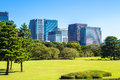 Imperial palace east gardens in tokyo japan skyline the Stock Photography