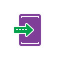 Import, enter colorful icon, vector flat sign.