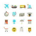 Import and export delivery logistics, aircraft shipping, loading vector flat icons Royalty Free Stock Photo