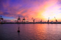 Import and export trade of port transport logistics the is a hub with the sea land equipment conditions for the safety the ship is Royalty Free Stock Photos