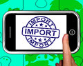 Import on smartphone shows international shipment or worldwide commerce Royalty Free Stock Photos