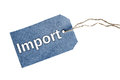 Import word isolated on blue tag Royalty Free Stock Photography