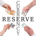 Important currencies concept reserve currency isolated on white Royalty Free Stock Photography