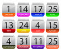 Important days year calender icon set illustration Royalty Free Stock Photos
