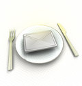 Important message on the plate render illustration Stock Photos