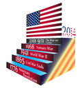 Important timeline events america usa flag we have come so far five in us history Stock Images