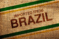 Imported from brazil printed on jute canvas texture natural coffee sack texture Stock Images