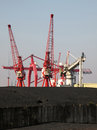 Imported coal at a uk docks dockside machinery and Stock Image