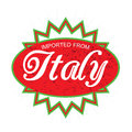Imported from italy product label design over white Stock Image