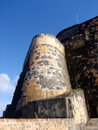 Imposing fortified wall of historic el morrow fort in san juan puerto rico Royalty Free Stock Images