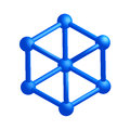 Impossible cube d bright blue on white background Stock Photo