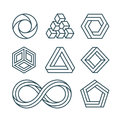 Impossible shapes thin line minimal vector icons set