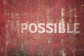 Impossible text on Metal plate steel background Royalty Free Stock Photo