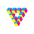 Impossible triangle in CMY colors. Cubes arranged as geometric optical illusion. Reutersvard traingle. Vector Royalty Free Stock Photo