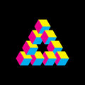 Impossible triangle in CMYK colors. Cubes arranged as geometric optical illusion. Reutersvard traingle. Vectori Royalty Free Stock Photo