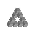 Impossible triangle in grey. 3D cubes arranged as geometric optical illusion. Reutersvard traingle. Vector illustration Royalty Free Stock Photo