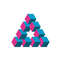 Impossible triangle in three different colors. Cubes arranged as geometric optical illusion. Reutersvard traingle Royalty Free Stock Photo