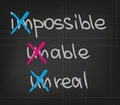 Impossible unable unreal words and expressions for getting success Stock Photos