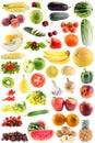 Imposti la frutta, verdure isolate Immagini Stock