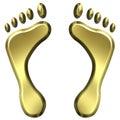 Impresiones de oro del pie 3D Imagenes de archivo
