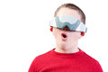 Impressed boy in virtual reality glasses