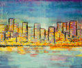 Impressionism painting building skyline landscape on canvas Stock Images