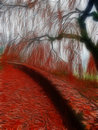 Impressionist autumn scene style red Royalty Free Stock Images