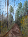 Impressionistic oil painting of forest a path through a Royalty Free Stock Photography