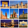 Impressions of european landmarks collage travel images Stock Photo