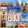 Impressions of lisbon collage travel images Royalty Free Stock Image