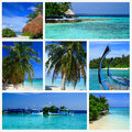 Impressions of maldives collage travel images Royalty Free Stock Photography