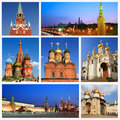 Impressions of moscow collage travel images Royalty Free Stock Photos