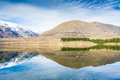 Impressive mountain reflection in the mountain lake southern alps mountains new zealand Stock Images