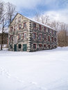 Impressive s stone mill building winter snow Royalty Free Stock Image