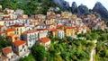 Impressive vilage castelmezzano basilicata italy in mountains Royalty Free Stock Images