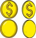 Collection / Set of coins / money with a yellowish tone, two with dollar symbol and two in blank. Vector of currency.