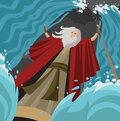Moses with his miracles staff parting the red sea Royalty Free Stock Photo